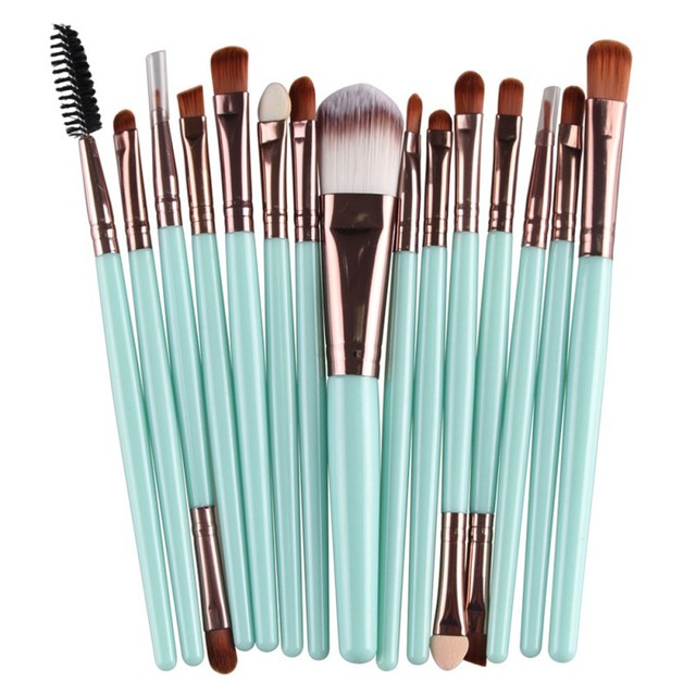2017 15 pcs 1 Sets Eye Shadow Foundation Eyebrow Lip Brush Makeup Brushes Tool