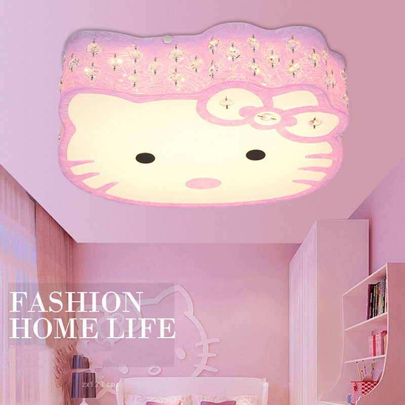 2017 Newest Hello Kitty Cat LED Ceiling Lights Fixture Cute Girls Bedroom Ceiling Lamps Kids Child Cartoon Living Room Light creative star moon lampshade ceiling light 85 265v 24w led child baby room ceiling lamps foyer bedroom decoration lights
