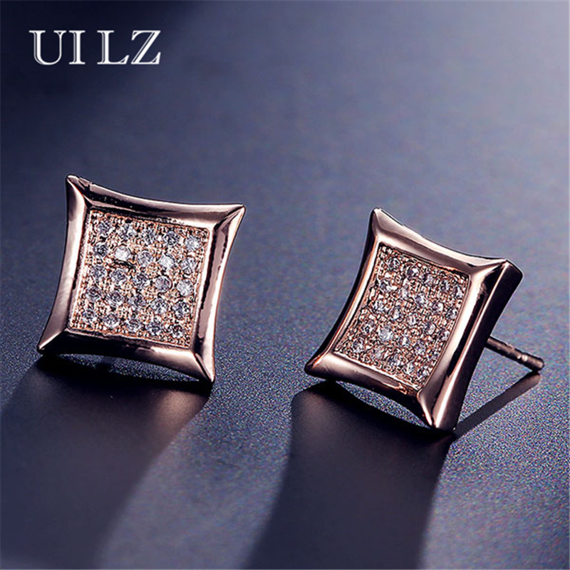 UILZ New Arrival Women Men Jewelry Fashion Sliver Color Crystal Zirconia Stud Earrings Square Party Aretes JMEP426