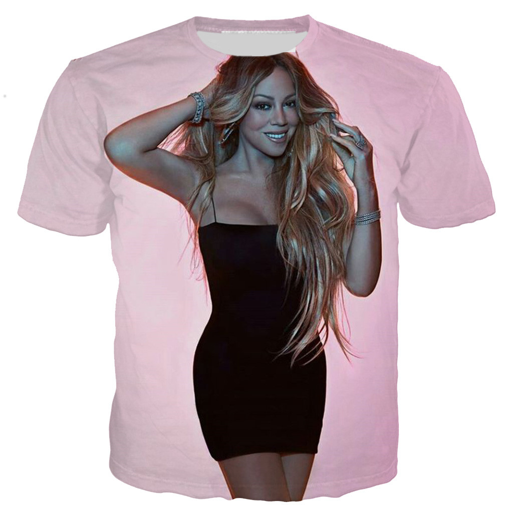 Fashion Women Men T-Shirt 3D Print Popular Singer Mariah Carey Short Sleeve Tops