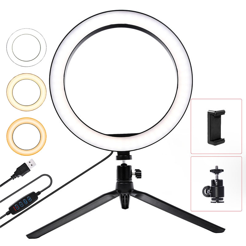 fusitu 10 inch 26cm Dimmable Led Ring Light with Tripod Stand Phone Holder Clip LED Desktop Lamp For YouTube Live Makeup Camera-in Photographic Lighting from Consumer Electronics