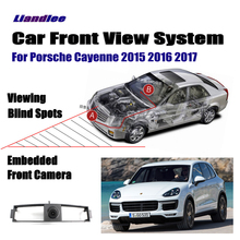 Liandlee For Porsche Cayenne 2015 2016 2017 Car LCD Screen Monitor 4.3 Front View Camera Logo Embedded Cigarette Lighter Switch