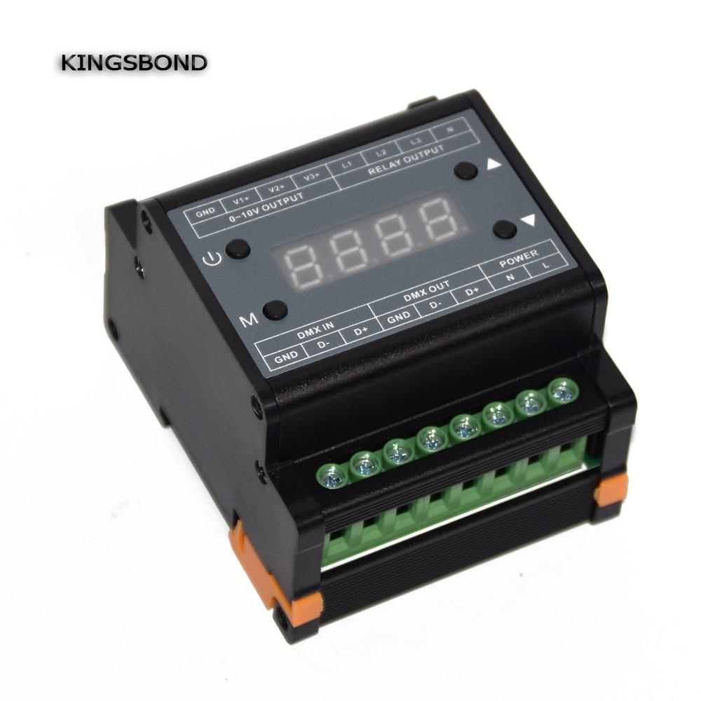 DMX303 3 canaux variateur haute tension, alimentation AC90-240V 3 canaux 0-10 V signal de sortie, contrôleur de gradateur DMX pour bande de LED