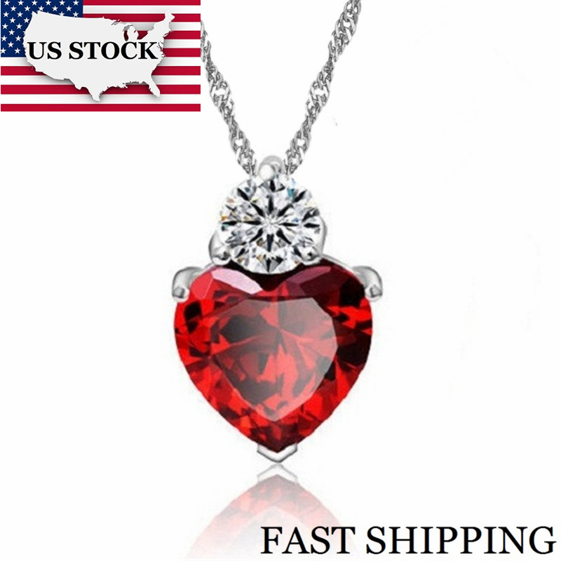 US STOCK Uloveido Heart Red Pendant Necklace Women Girl Necklaces Wedding Party Decorating Jewerly Christmas Gift 55641