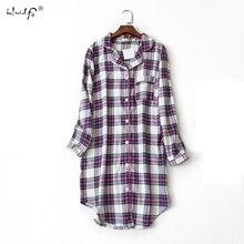 Plus size 100% Cotton Womens Flannel Boyfriend Nightshirt Nightgown Nightdress Pink Plaid Cat Sleepwear Sleepshirt Nightgowns