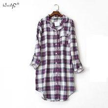 d6a54d5b16 Plus size 100% Cotton Women s Flannel Boyfriend Nightshirt Nightgown  Nightdress Pink Plaid Cat Sleepwear Sleepshirt