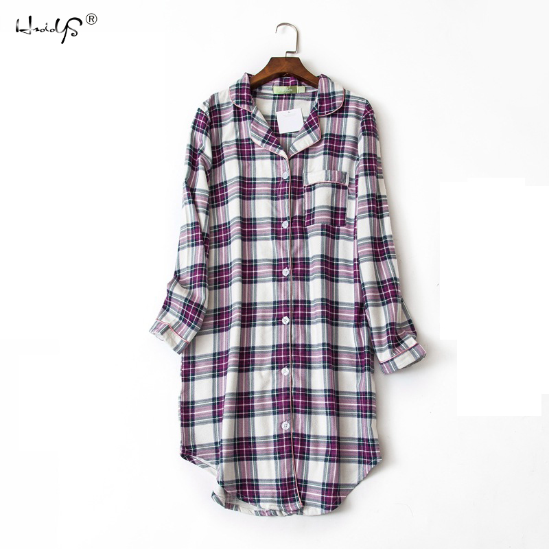 Plus size 100% Cotton Women's Flannel Boyfriend Nightshirt   Nightgown   Nightdress Pink Plaid Cat Sleepwear   Sleepshirt     Nightgowns