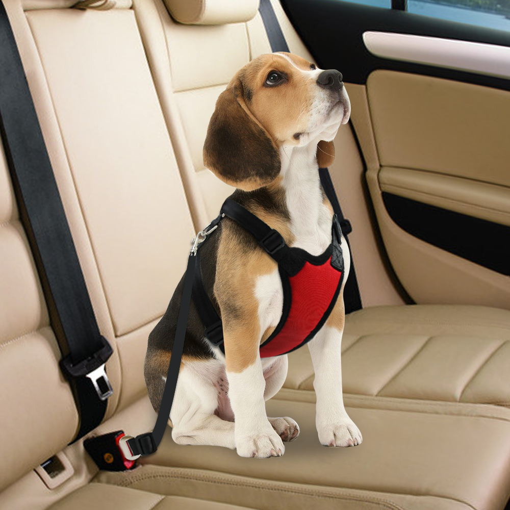 Nylon Dog Car Seat Belt Mesh Pet Dogs Safety Car Harness Soft Padded Vest Vehicle Seatbelt Lead Leash For Medium Large 6