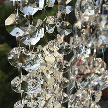 20 m partia najwyższej jakości 14mm jasne ośmiokąt K9 kryształowe koraliki połączone z 11mm pierścienie tort weselny dekoracyjne kryształowe wianek Strand tanie tanio 1000mm Kryształowy żyrandol WX0525 k9 crystal Clear crystal Chandelier beads lighting parts 1M (H)