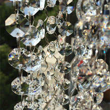 Connected Beads Decorative Crystal Octagon Clear 14mm K9 with 11mm-Rings Wedding-Cake