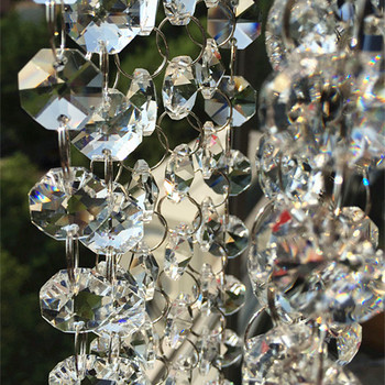 20M/lot Top Quality 14mm Clear Octagon K9 Crystal Beads Connected With 11mm Rings Wedding Cake Decorative Crystal Garland/Strand