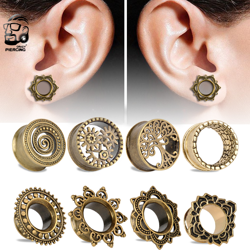 1Pair New Hot Antique Brass Rose of Sharon Flesh Tunnel Double Flared Ear Plugs Piercing Gauges 8mm-22mm Body Jewelry 9 styles image