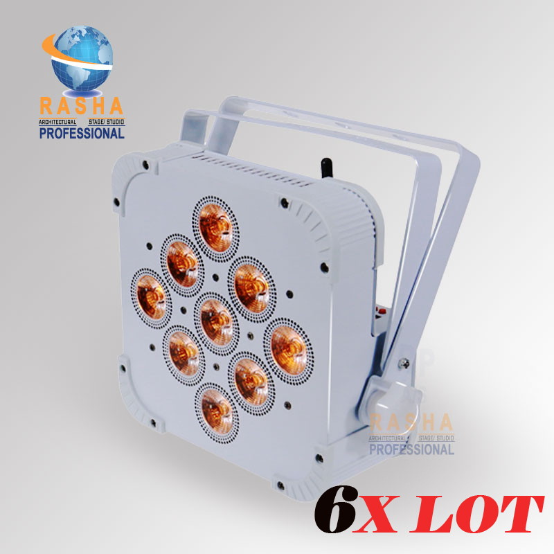 6X Rasha Penta 9pcs*15W 5in1 RGBAW Wireless DMX512 LED Flat Par Can,LED Profile Par Light,Disco Stage Light
