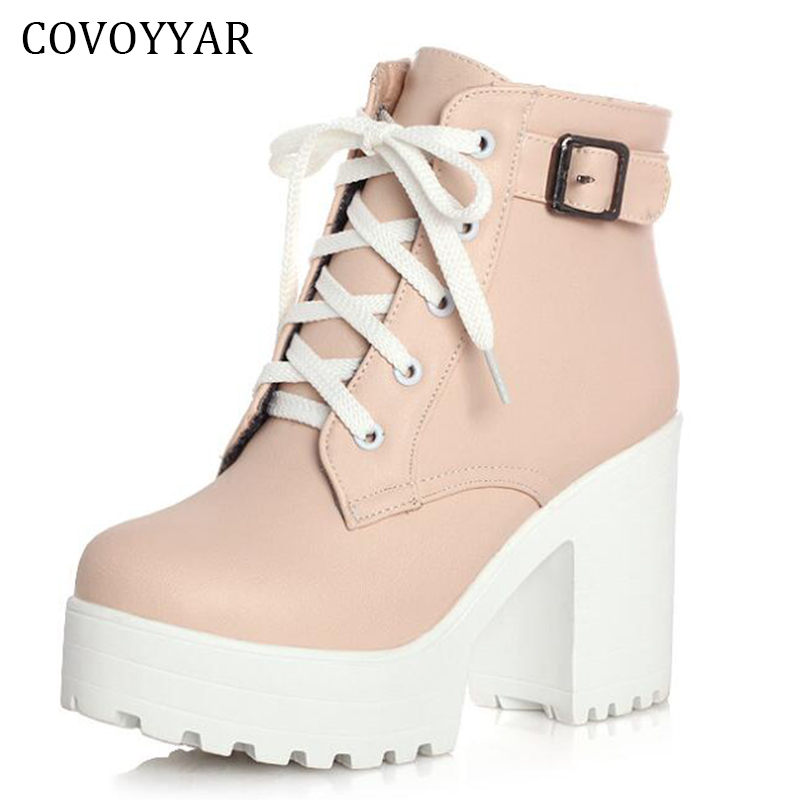 Platform Boots 2019 Fashion Thick Heel Ankle Boots Women High Heels Autumn Winter Pink Woman Shoes Lace Up Size 41 WBS240