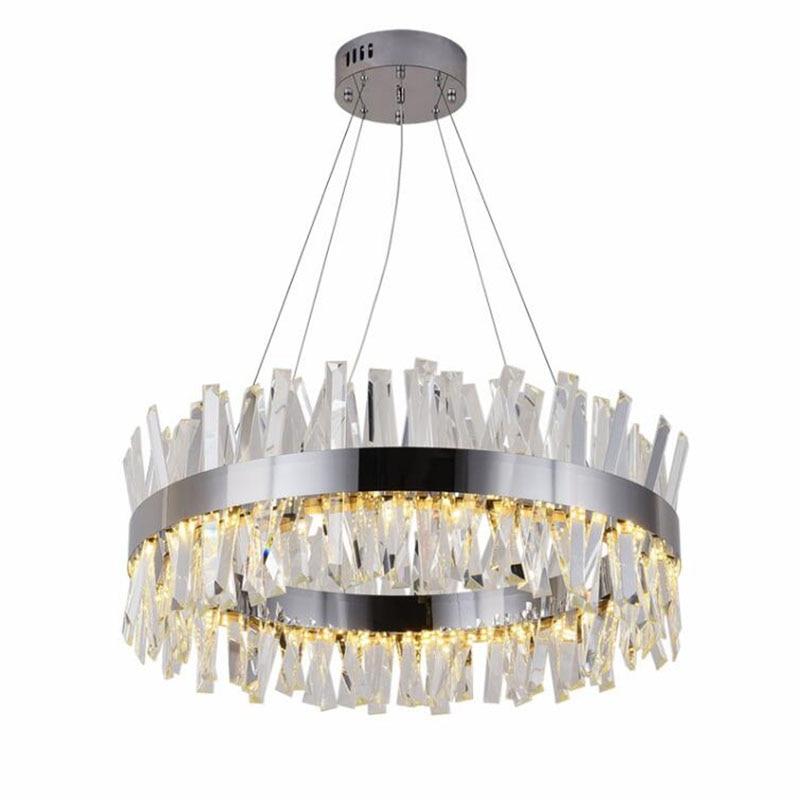 Round design modern crystal chandelier lighting luxury dining room living room lights chrome LED chandeliers