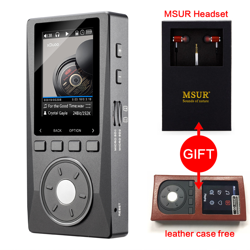 XDUOO X10 leather case free MSUR headphones Portable High Resolution Lossless DSD Music Player DAP Support