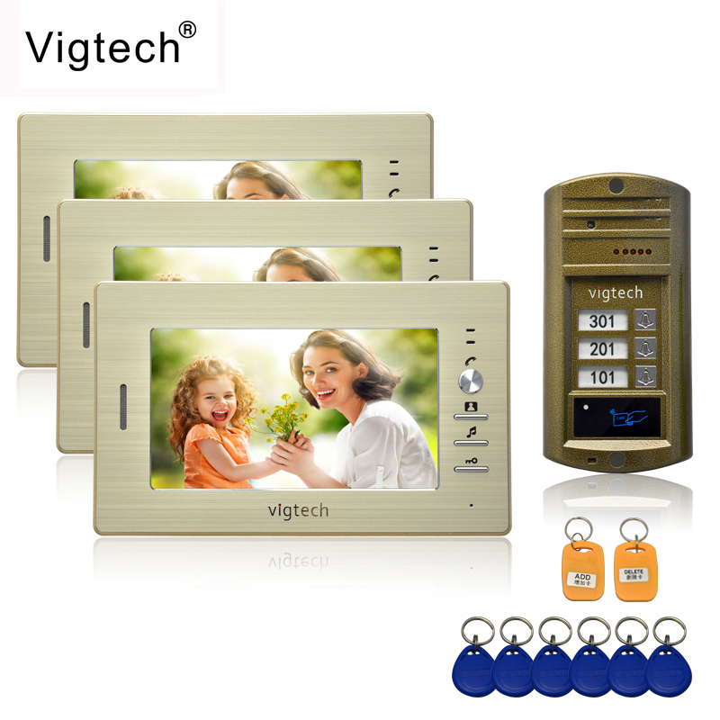 Vigtech 7'' Color Video Door Phone 3 Monitors With 1 Intercom Doorbell Can Control 3 Houses For Multi Apartment RFID Camera