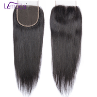 LEMODA Straight human hair Lace Closure middle /free/Three Part Peruvian Hair extensions siwss Lace Remy Hair Closures