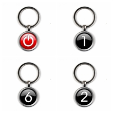 Button glass keychain handmade photo graphic design engineer gift