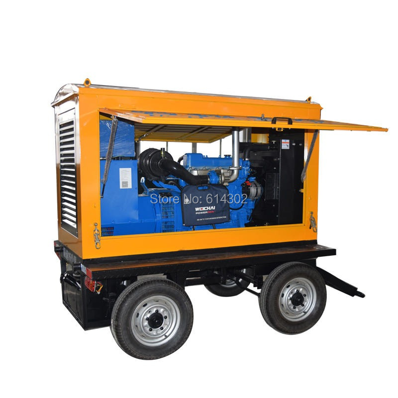 Chinese 30kw/37.5kva mobile trailer diesel generator power station with brushless alternator and four wheels