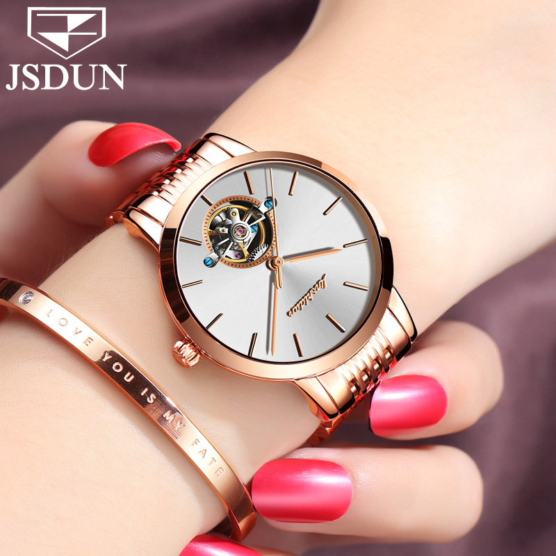 2018 JSDUN Switzerland Luxury Brand Automatic Mechanical Watch Rose Gold Ladies Tourbillon Watches Stainless Steel Wrist watch 2017 new jsdun luxury brand automatic mechanical watch ladies rose gold watches stainless steel ladies tourbillon wrist watch