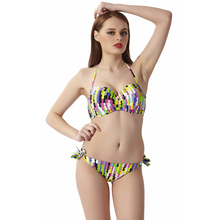 Bath Suit 2 Pieces Biquinis 2019 Mujer Biquini Maillot De Bain Femme Bathing Beach Women Sexy Print Swimwear Push-Up Padded
