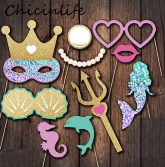 Chicinlife 1Set Mermaid Photo Booth Props Birthday Party Girls Favors Gift Baby Shower Wedding Mermaid Party Decoration Supplies
