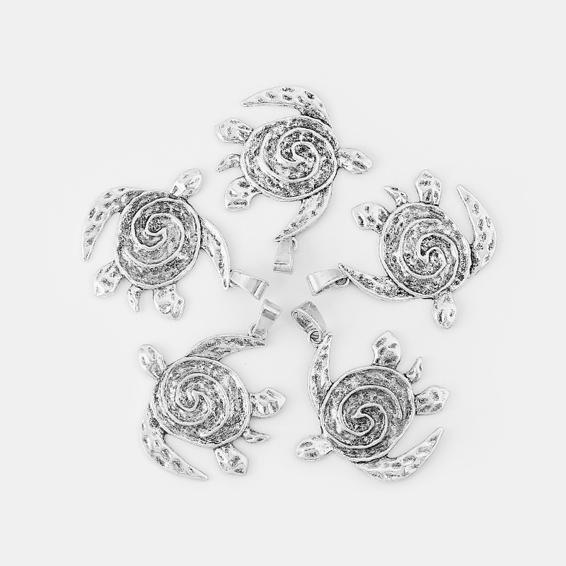 3Pcs Antique Silver Large Hammered Spiral Swirl Flower Charms Pendant Jewelry