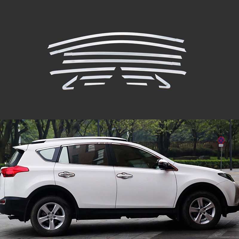 Full Window Trim Decoration Strips For Toyota RAV4 2013 2014 2015 Auto Accessories Stainless Steel Car Styling OEM-12 full window trim decoration strips for honda civic 9th 2013 2014 2015 auto accessories stainless steel car styling oem 16