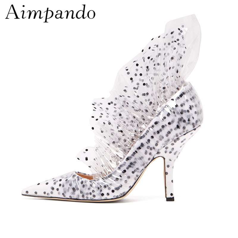 Novelty Spring Polka Dot High Heel Shoes Woman White Satin Covered Transparent PVC Pointed Toe Ruffles Women Pumps