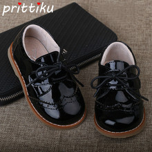 2018 Baby Toddler Boy Girl Full Grain Leather Oxfords Little Kid Lace Up Children Brand Fashion Shiny Black Formal Dress Shoes