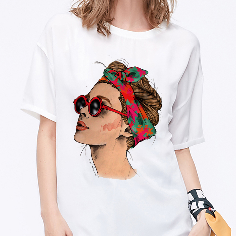 Summer 2019 T Shirt Women Harajuku Print Vintage Female Casual Fashion Tshirt O-neck Short Sleeve T-shirt White Tops Clothing