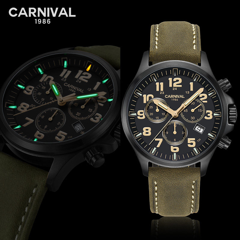 Carnival Luxury Brand Watch Men Quartz Men's Watches Luminous Hands Watch Male Waterproof reloj hombre Genuine Leather C8818G-5 genuine jedir quartz male watches genuine leather watches racing men students game run chronograph watch male glow hands