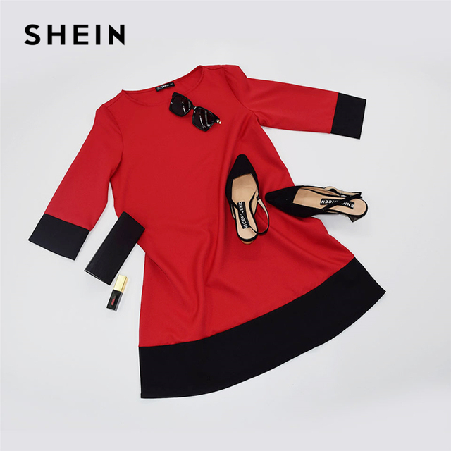 SHEIN Red Contrast Trim Tunic Dress Workwear Colorblock 3/4 Sleeve Short Dresses Women Autumn Elegant Straight Mini Dresses 5