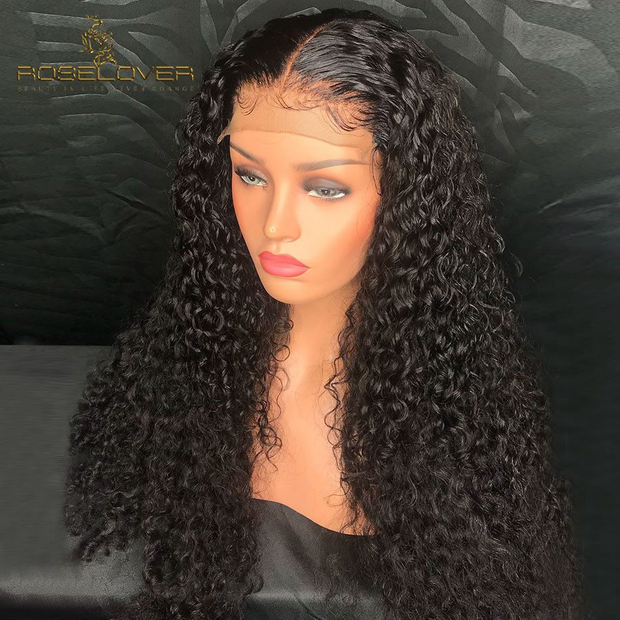 Curly Human Hair Wigs 360 Lace Frontal Wig with Baby Hair PrePlucked Bleached Knot Brazilian Lace