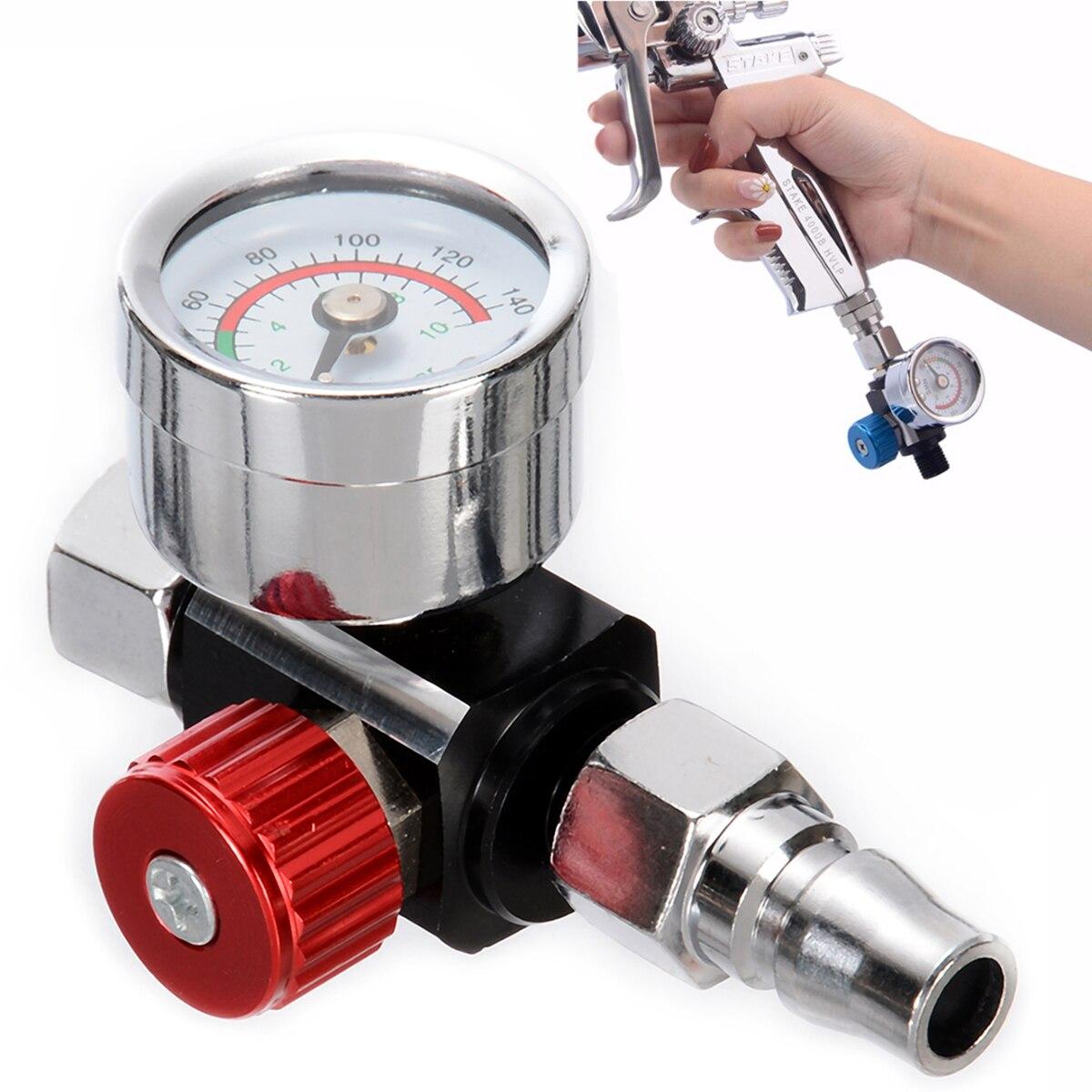 """1 Stück 1/4 """"bsp Mini Luft Regler Ventil Werkzeug Langlebig Kleinen Schwanz Manometer 48*60mm Mit Düse Für Spray Gun Mayitr Direktverkaufspreis"""