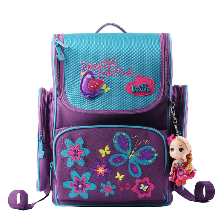 Delune Orthopedic Children School Bags For Girls 2017 Kids Backpack Monster High WINX Book Bag Princess Schoolbags Mochila