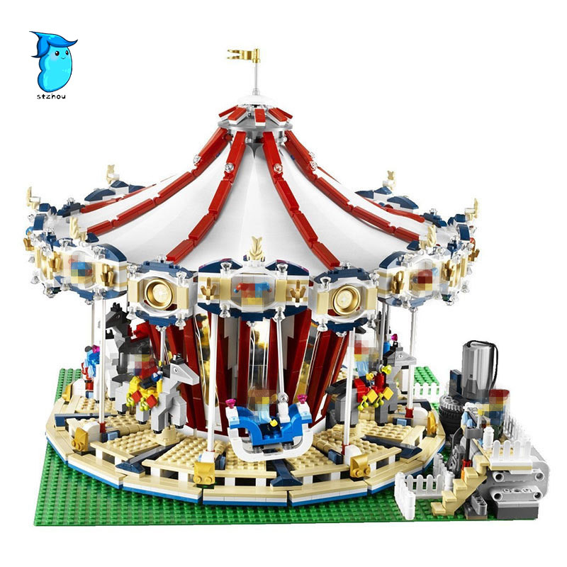 3263PCS Lepin 15013A City Street Ceator Carousel Model Building Kits Blocks Toy amusement park Compatible 10196 Birthday Gifts a toy a dream lepin 15008 2462pcs city street creator green grocer model building kits blocks bricks compatible 10185
