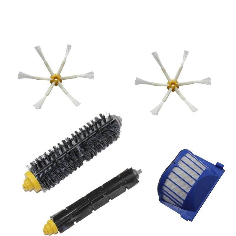 1 Set Flexible Batteur Brosse 2 Brosse Latérale 1 Filtre pour Aspirateur iRobot Roomba 600 Series 620 630 650 660