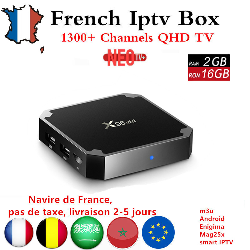 French IPTV X96mini 4k Android 7.1 TV Box with 1300+ NEO IPTV Europe French Arabic Spain Tunisia Morocco PayTV Smart Set top Box mag250 linux system set top box usb wifi with neo iptv french iptv arabic tunisia morocco belgium channels paytv