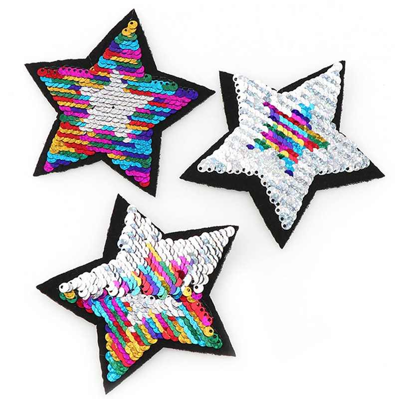 1Pcs New Shiny Five-pointed Stars Reversible Change Color MIX Color Sequins Sew On Patches For Clothes DIY Patch Applique Crafts