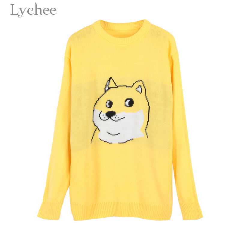 Lychee Spring Autumn Sweet Women Kint Sweater Cartoon Dog Print Long Sleeve Casual Loose Knitted Pullover
