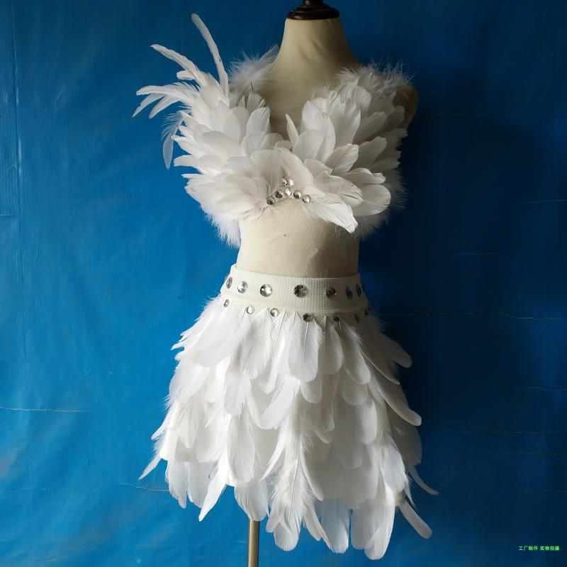 Star Model catwalk stage performance DJ female singer nightclub bar sexy feather underwear skirt angel Cosplay costume