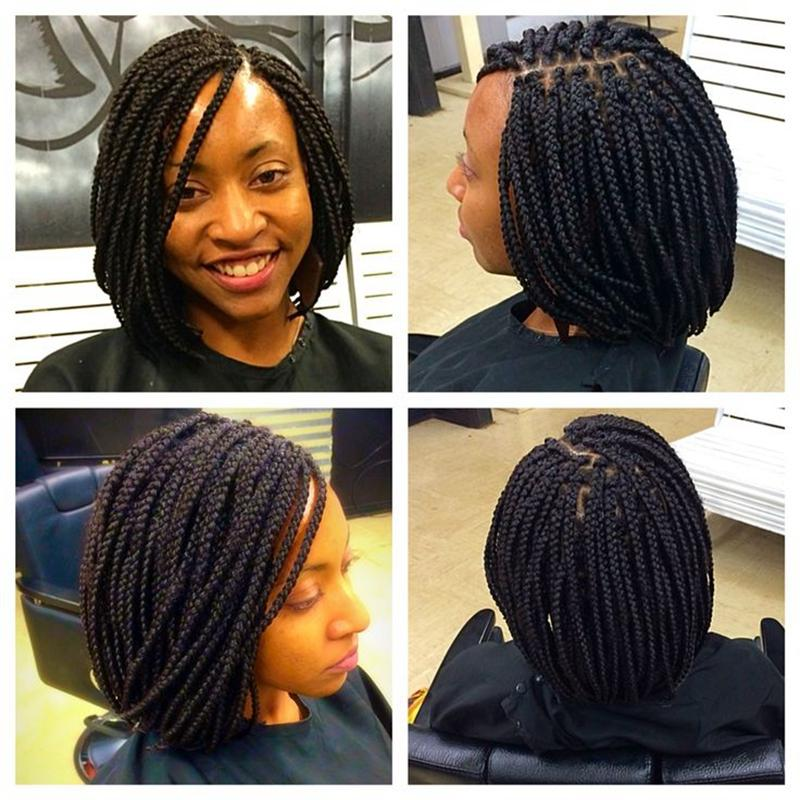 African American Braided Wigs Black Short Lace Front ...