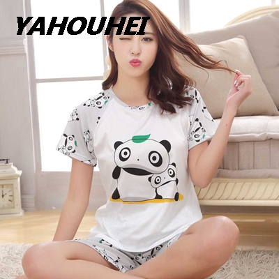 Hot Women   Pajamas     Sets   Summer Short Sleeve Thin Cotton Cartoon Print Cute Loose Pijamas Mujer Nightgown For Women Sleepwear Girl