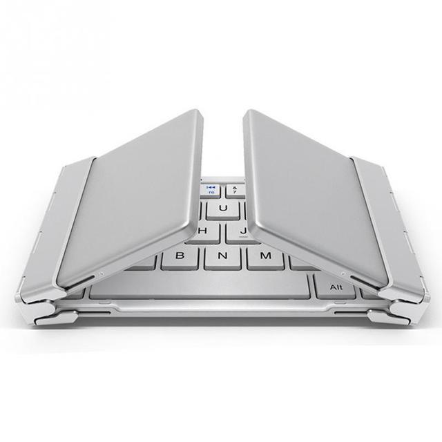 Inteligente de bolsillo plegable teclado de aluminio de bluetooth teclado plegable sin hilos universal de viaje para iphone ipad pc tablet phon