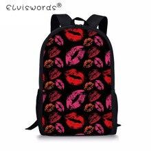 434c91d401 ELVISWORDS School Bags for Teenager Girls Primary Kids School Bag Sexy Red  Lips Print Children Book