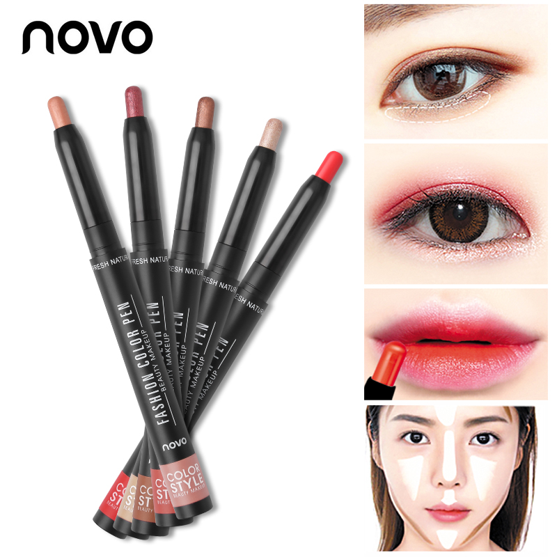 NOVO Brand New Multi-Purpose Makeup Set Color Pens 12 Colors Lipstick Pen & Eyeshadow Pencil Easy to Wear Long Lasting Cosmetics gold earrings for women