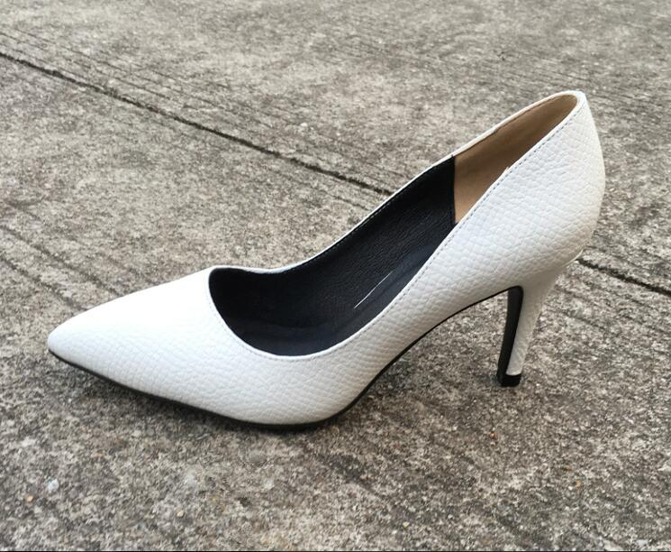 Zapatos mujer high heel women snakeskin shoes pumps with pointed toe 9 cm thin heels slip-on ladies black white heel dress shoes size 4 9 summer black women shoes elegant white flower high heels shoes cross women pumps zapatos mujer check foot length