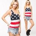 2015 Новый Сексуальный Флаг США Дизайн Лето Жилет Майка Без Рукавов Американский флаг Топы Свободные Casual женская Одежда Бесплатно доставка